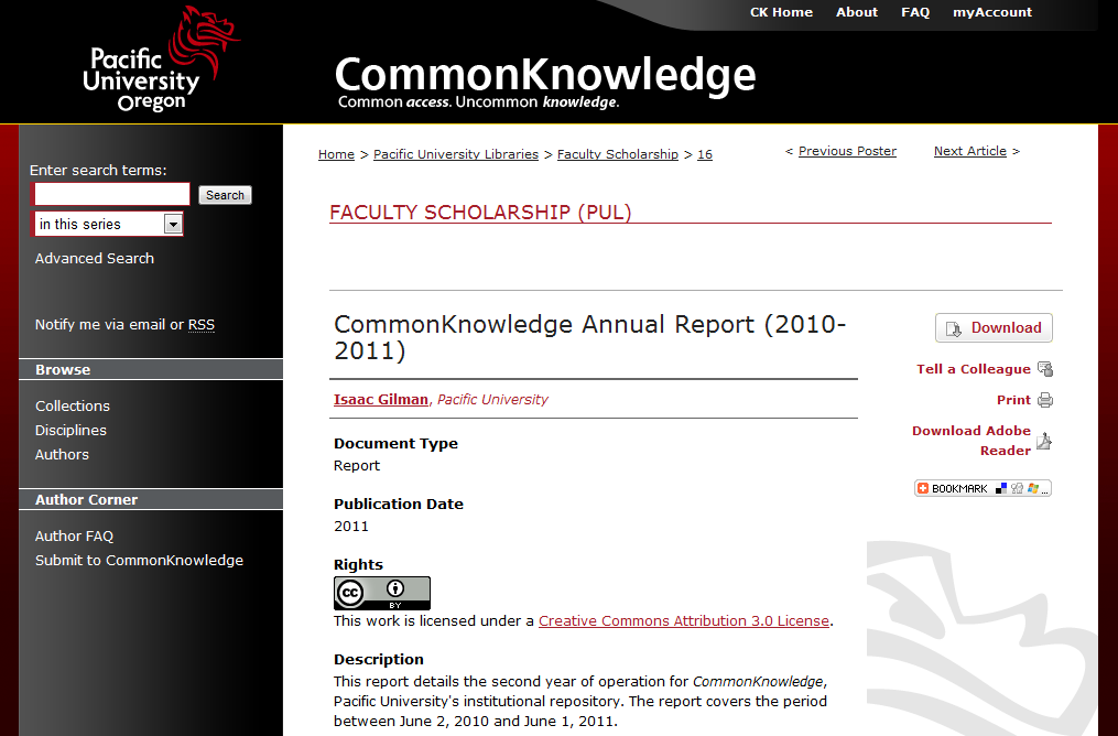 CommonKnowledge Annual Report (2010-2011)- by Isaac Gilman