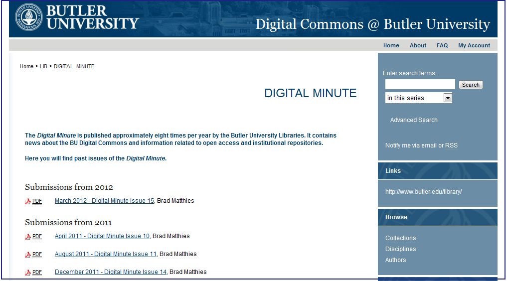Digital Minute - Butler University Libraries - University Libraries - Butler University