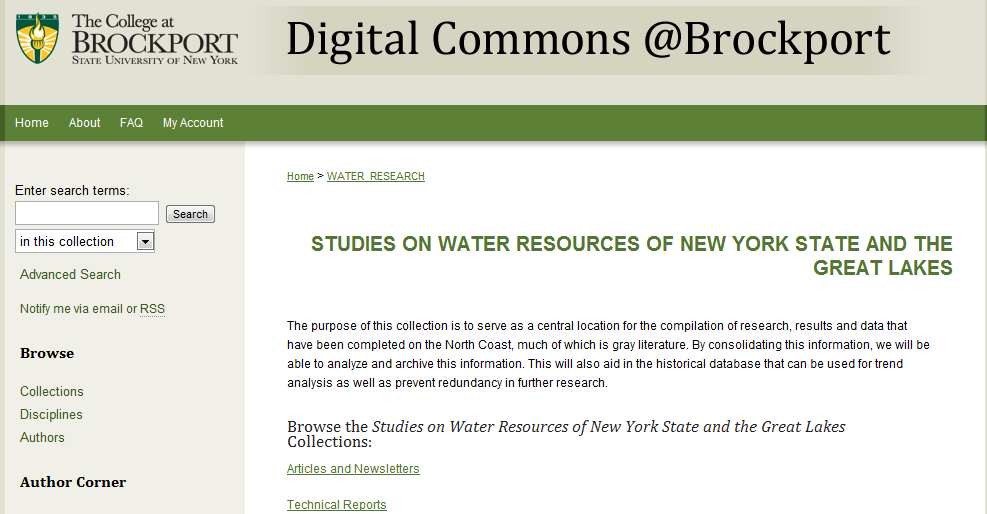 Studies on Water Resources of New York State and the Great Lakes - Digital Commons @Brockport