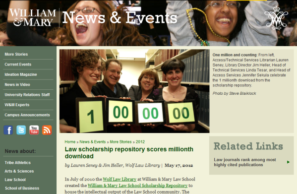 William & Mary - Law scholarship repository scores millionth download