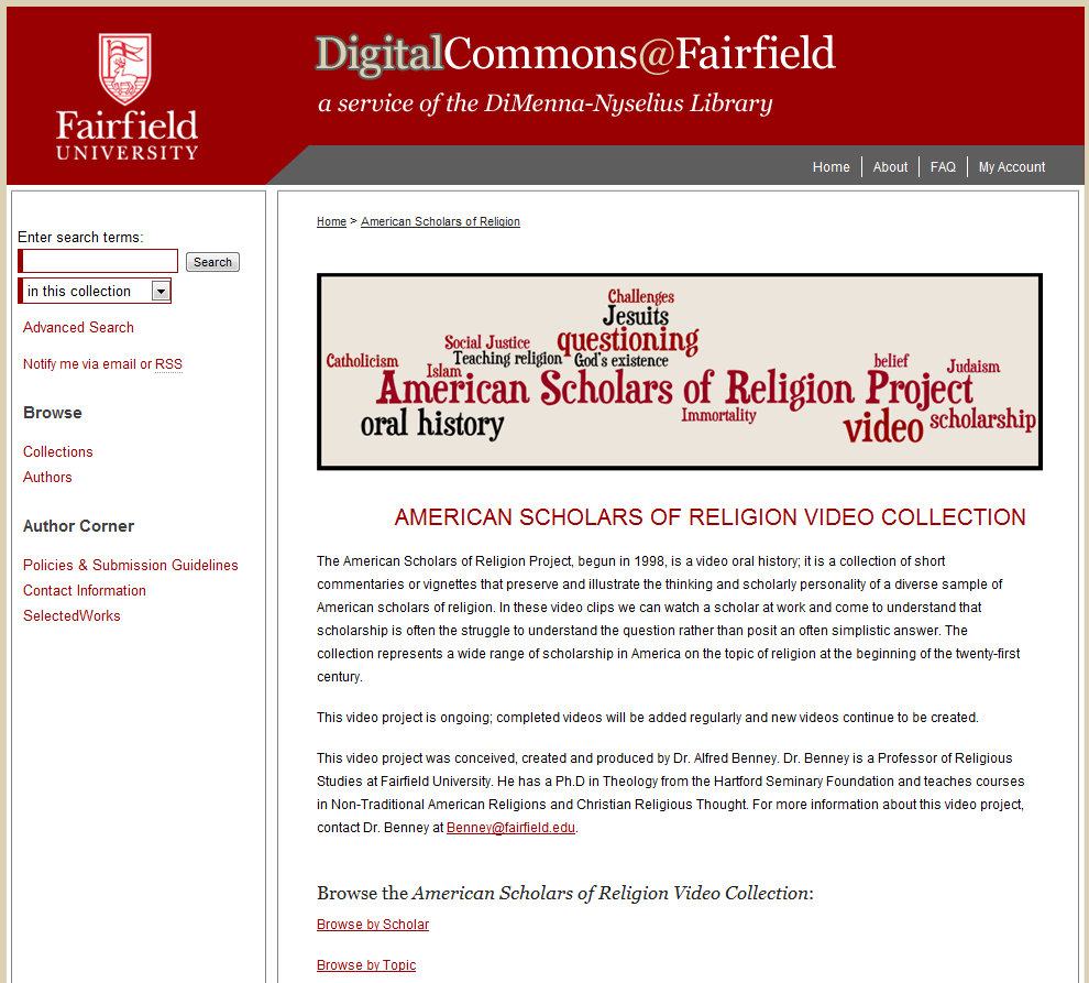 American Scholars of Religion Video Collection - DigitalCommons@Fairfield
