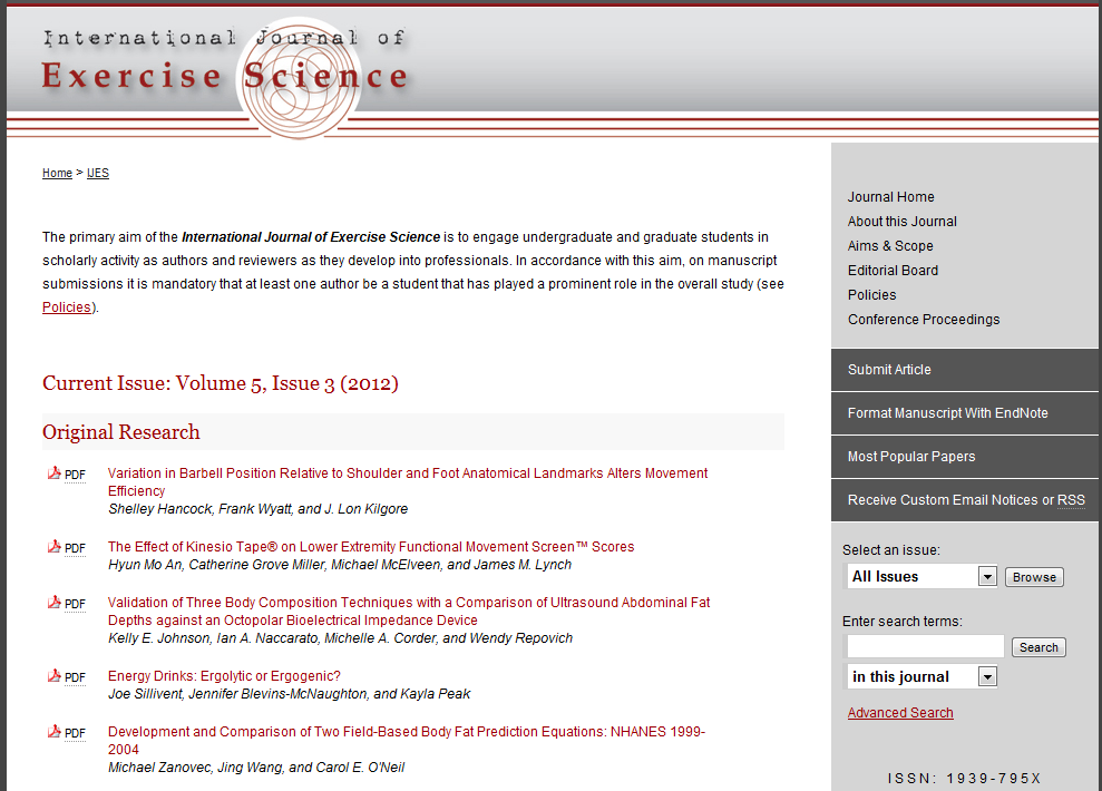 International Journal of Exercise Science - Western Kentucky University