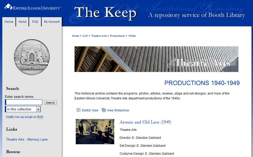EIU Theatre Arts Department Productions of the 1940s