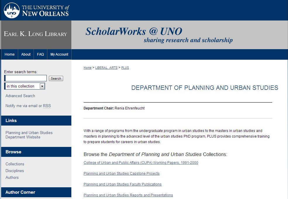 Department of Planning and Urban Studies - University of New Orleans Research - ScholarWorks@UNO