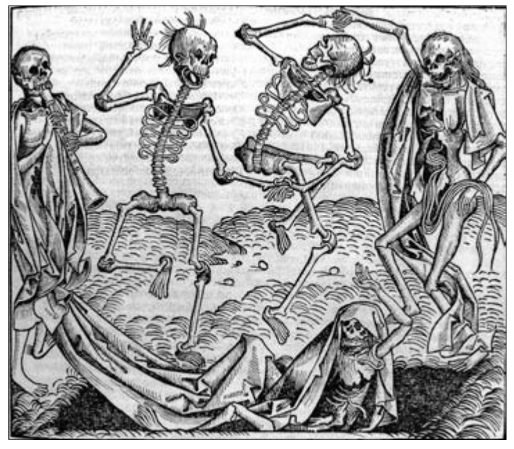 "An image from ""Haunting Experiences: Ghosts in Contemporary Folkore,"" by Diane E. Goldstein, Sylvia Ann Grider, and Jeannie B. Thomas. (Photo used in book by permission of Wellcome Trust, Medical Photographic Library, L0006816. Dance of Death. Hartmann Schedel, 1493.)"