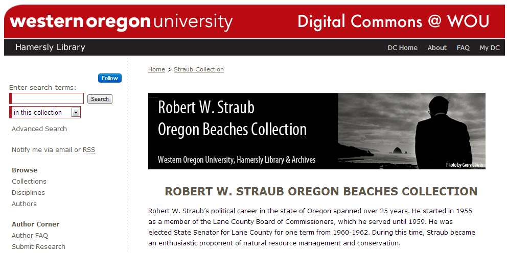 Robert W. Straub Oregon Beaches Collection - Western Oregon University Research - Digital Commons@WOU