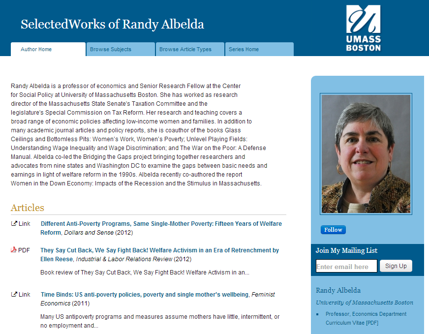 Randy Albelda - University of Massachusetts Boston - Professor, Economics Department