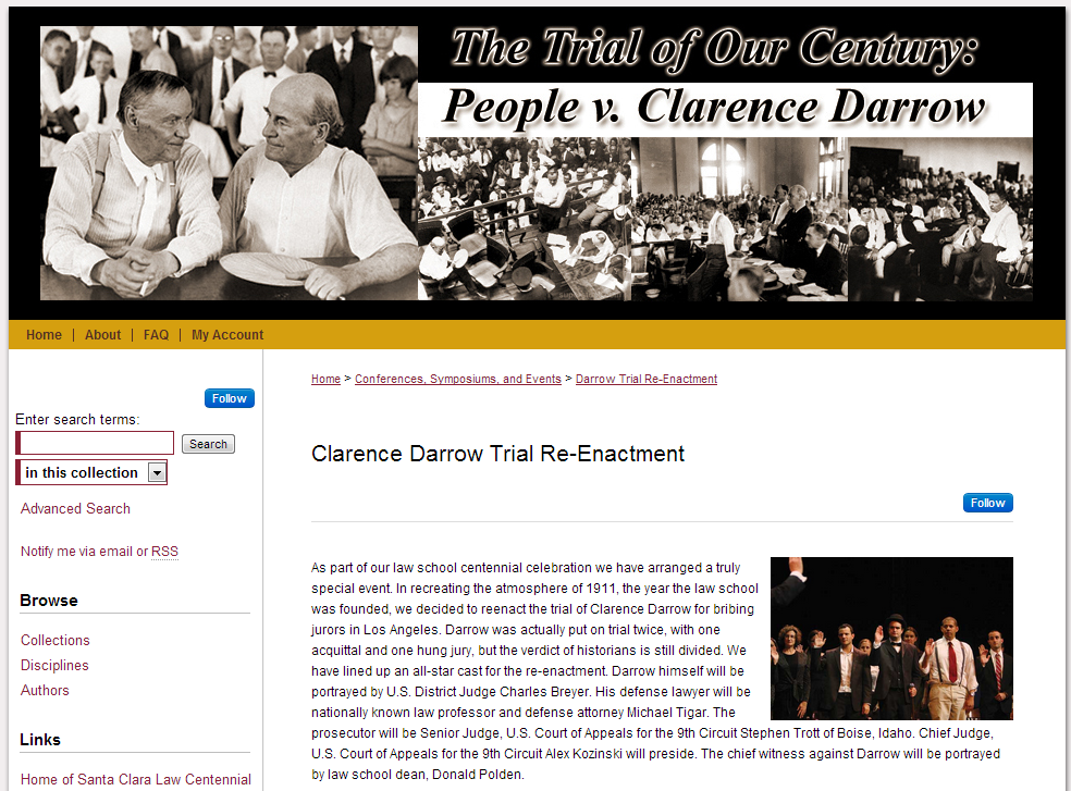Clarence Darrow Trial Re-Enactment - Conferences, Symposiums, and Events - Santa Clara Law