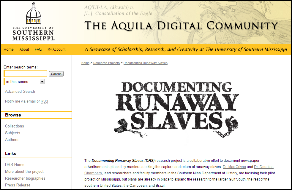 Documenting Runaway Slaves - Research Projects - The University of Southern Mississippi