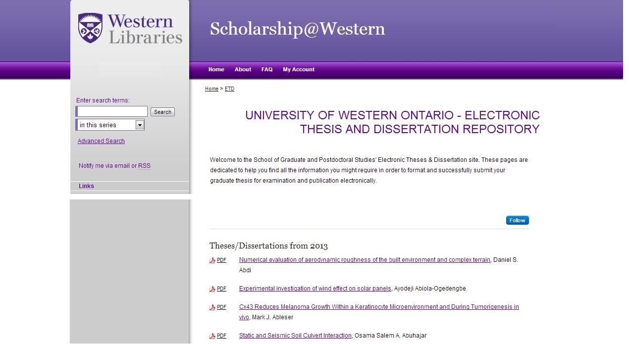 ETD Series at Western University