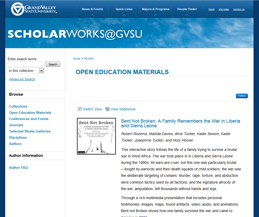 Grand Valley State University's Open Educational Materials Collection