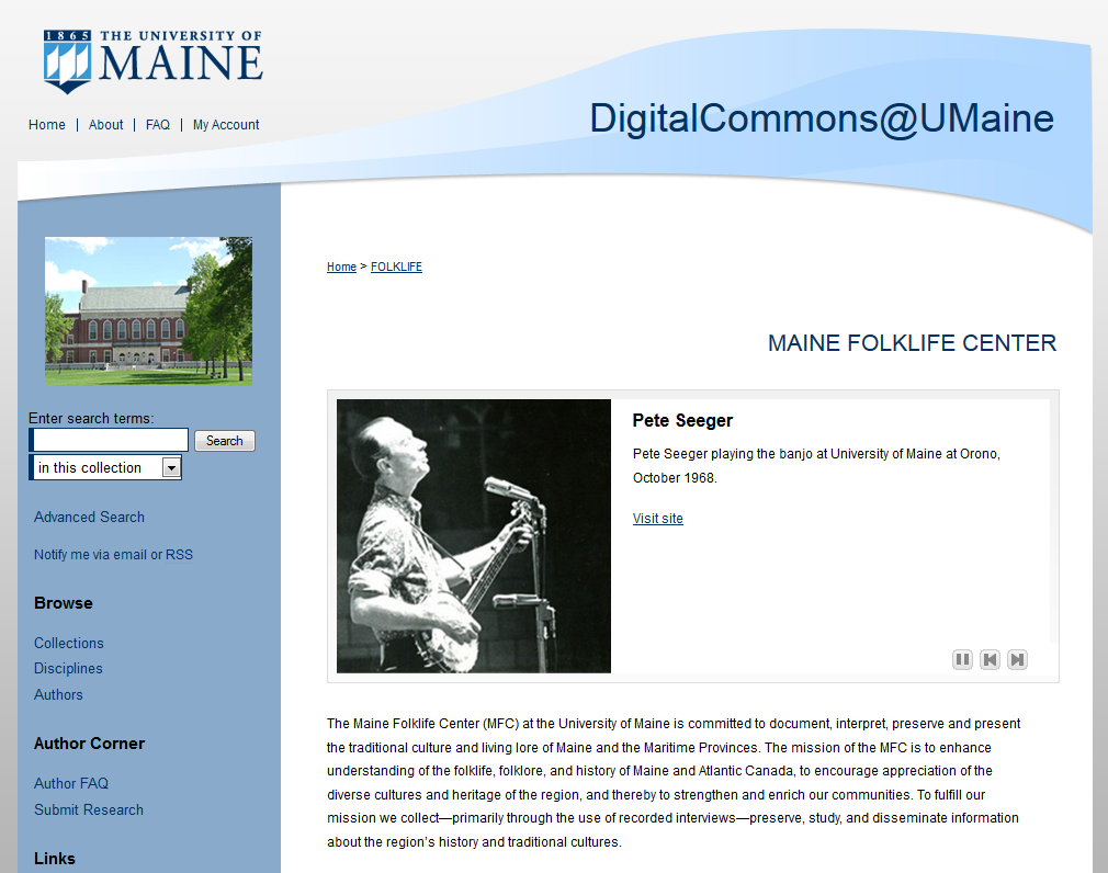 Pete Seeger in the Maine Folklife Center collection